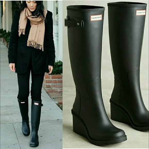 e766e5d356b8 Hunter Shoes - HUNTER Original Refined Mid Wedge Rubber Boot